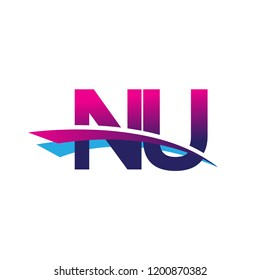 initial letter NU logotype company name colored blue and magenta swoosh design. vector logo for business and company