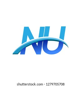 initial letter NU logotype company name colored blue and swoosh design. vector logo for business and company identity.