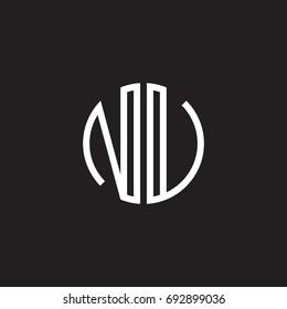 Initial letter NU, NV, minimalist line art monogram circle shape logo, white color on black background