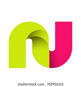 Initial Letter NU Rounded Lowercase Logo. Logo template.