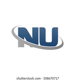 initial letter NU swoosh ring company logo blue gray