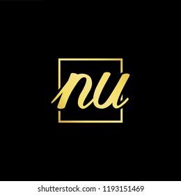 Initial letter NU UN minimalist art monogram shape logo, gold color on black background