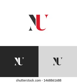 Initial Letter nu uppercase modern logo design template elements. red letter Isolated on black white grey background. Suitable for business, consulting group company.