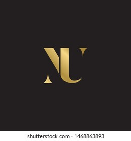 Initial letter nu uppercase modern logo design template elements. Gold letter Isolated on black  background. Suitable for business, consulting group company.