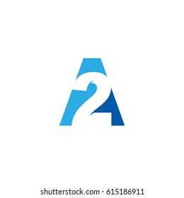 Initial letter and number logo, A and 2, A2, 2A, negative space blue