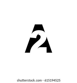 Initial letter and number logo, A and 2, A2, 2A, black negative space