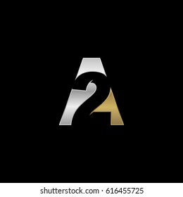 Initial letter and number logo, A and 2, A2, 2A, negative space silver gold