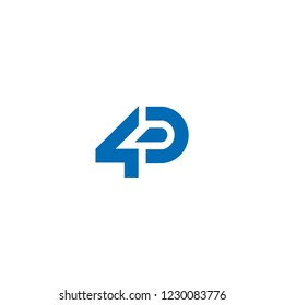 Initial letter and number logo, D and 4, D4, 4D