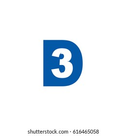 Initial letter and number logo, D and 3, 3D, D3, negative space flat blue