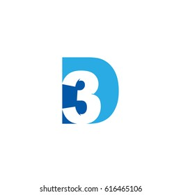 Initial letter and number logo, D and 3, D3, 3D, negative space flat blue