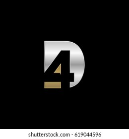 Initial letter and number logo, D and 4, D4, 4D, negative space silver gold
