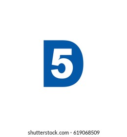 Initial letter and number logo, D and 5, 5D, D5, negative space flat blue