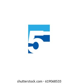 Initial letter and number logo, F and 5, F5, 5F, negative space flat blue