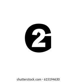 Initial letter and number logo, G and 2, G2, 2G, black negative space