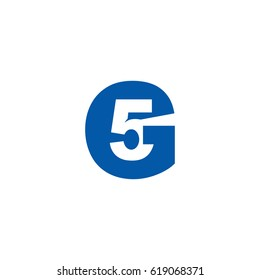 Initial letter and number logo, G and 5, G5, 5G, negative space flat blue
