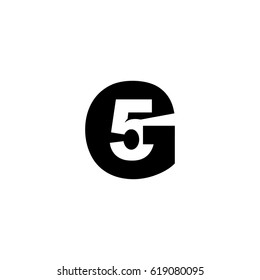 Initial letter and number logo, G and 5, G5, 5G, negative space black