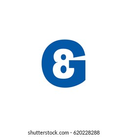 Initial letter and number logo, G and 8, G8, 8G, negative space flat blue