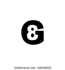 Initial letter and number logo, G and 8, G8, 8G, negative space