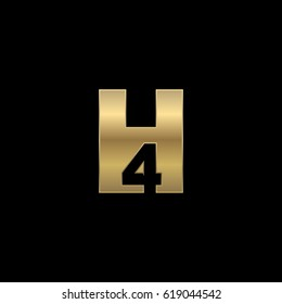 Initial letter and number logo, H and 4, H4, 4H, negative space gold