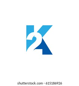 Initial letter and number logo, K and 2, K2, 2K, negative space blue