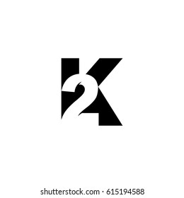 Initial letter and number logo, K and 2, K2, 2K, black negative space