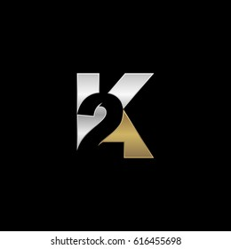 Initial letter and number logo, K and 2, K2, 2K, negative space silver gold