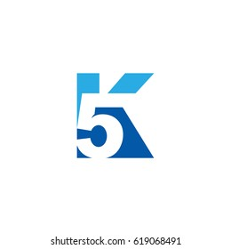 Initial letter and number logo, K and 5, K5, 5K, negative space flat blue