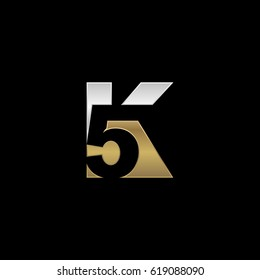 Initial letter and number logo, K and 5, K5, 5K, negative space silver gold