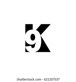 Initial letter and number logo, K and 9, K9, 9K, negative space black