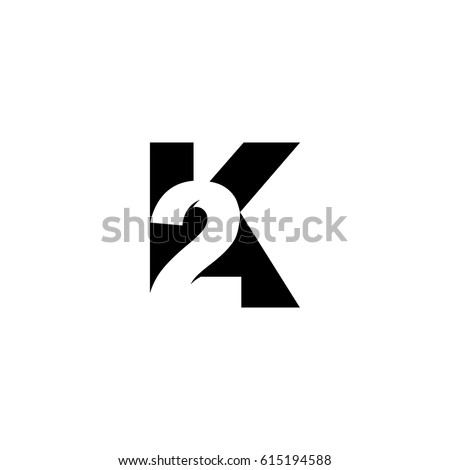 Initial Letter Number Logo K 2 Stock Vector Royalty Free 615194588