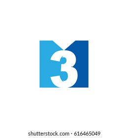 Initial letter and number logo, M and 3, M3, 3M, negative space flat blue
