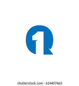 Initial letter and number logo, Q and 1, Q1, 1Q, negative space flat blue