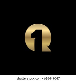 Initial letter and number logo, Q and 1, Q1, 1Q, negative space gold black background