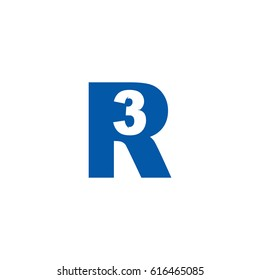 Initial letter and number logo, R and 3, R3, 3R, negative space flat blue