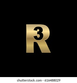 Initial letter and number logo, R and 3, R3, 3R, negative space gold