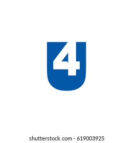 Initial letter and number logo, U and 4, U4, 4U, negative space flat blue