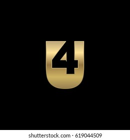 Initial letter and number logo, U and 4, U4, 4U, negative space gold