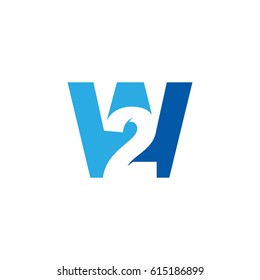Initial letter and number logo, W and 2, W2, 2W, negative space blue