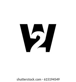 Initial letter and number logo, W and 2, W2, 2W, black negative space