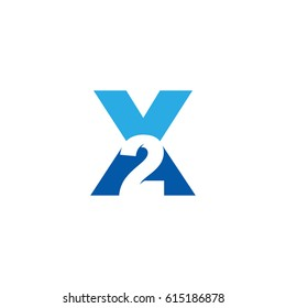 Initial letter and number logo, X and 2, X2, 2X, negative space blue