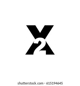 Initial letter and number logo, X and 2, X2, 2X, black negative space