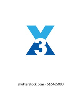 Initial letter and number logo, X and 3, X3, 3X, negative space flat blue