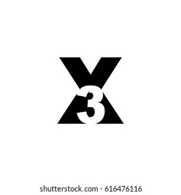 Initial letter and number logo, X and 3, X3, 3X, negative space black