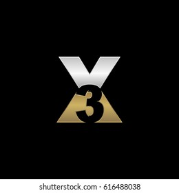 Initial letter and number logo, X and 3, X3, 3X, negative space silver gold