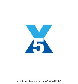 Initial letter and number logo, X and 5, X5, 5X, negative space flat blue