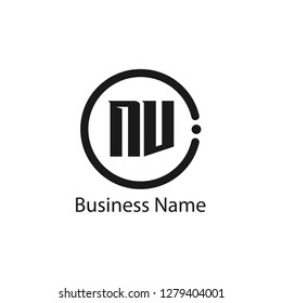 Initial letter NV logo template Design