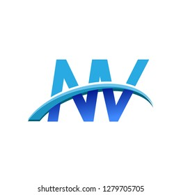 initial letter NV logotype company name colored blue and swoosh design. vector logo for business and company identity.