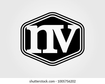 Initial letter nv lowercase logo minimalist black