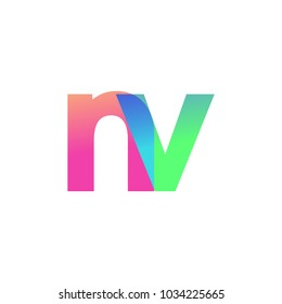 Initial Letter NV Lowercase Logo green, pink and Blue, Modern and Simple Logo Design.