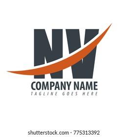 Initial Letter NV Overlapping Logo